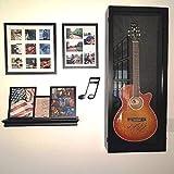 Wood Acoustic Guitar Display Case Black with an Acrylic Hinged Door Choose Red or Black Felt (Black Felt)