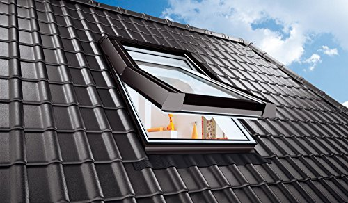 AFG Schweiz Skylight Kunststoff Dachfenster PVC 66 x 118 cm mit Eindeckrahmen Schwingfenster Dachflächenfenster