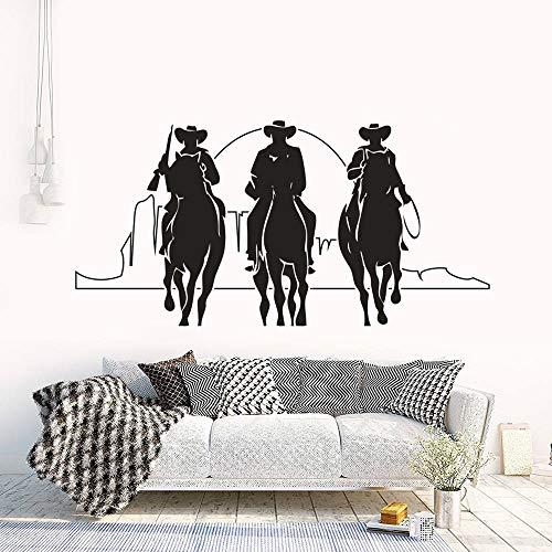 mlpnko Paseos a Caballo y Sunset Wall Art Poster Tres Pegatinas de Vinilo del Vaquero Occidental,CJX14051-86x42cm