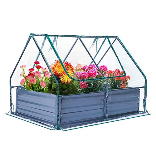 Raised Garden Bed with Durable Plastic Cover Portable and Sturdy Greenhouse 85.6 Gal Planter Box with Size 47''35''12''