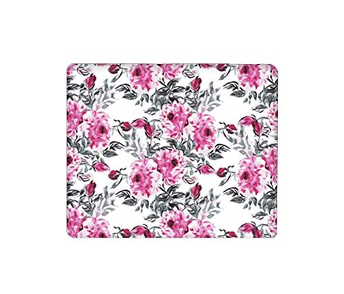 Mouse Pad Rectangular Mouse Mat Cute Mouse Pad with Design Non Slip Rubber Base Mousepad with Stitched Peony Flowers Rose Lily Daisy Jasmine Camellia babybreath Sunflower~Q5