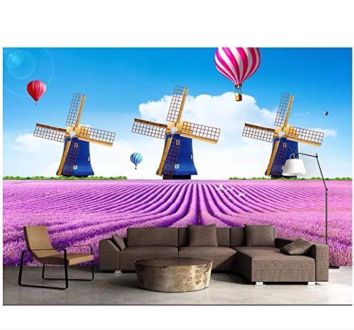Ytdzsw Benutzerdefinierte Foto 3D Tapeten Für Wohnzimmer Blume Von Ozean Lavendel Holländische Windmühle 3D Wandbilder Wallpaper Für Wände 3D-200X140Cm