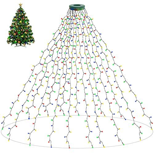 aneeway Catena Luminosa dell'albero di Natale 16x200cm 400 Leds 8 Modalità con Timer Impermeabile Decorative per Festa Compleanno Matrimonio Décor Giardino Patio, Basso Voltaggio 31V - Multicolore