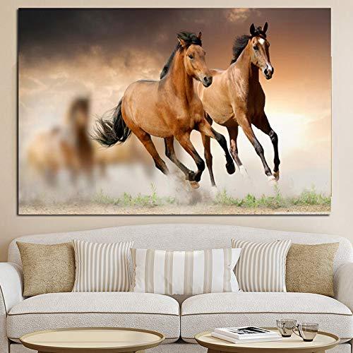 tzxdbh Europäische Laufende Pferde Tier Landschaftsmalerei auf Leinwand Wandbild Kunstdruck und Poster Modern Home Decoration Ungerahmt Gemälde & Kalligraphie von G 30x45cm ungedehnt PC5969