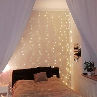 LE Lichtervorhang 3 * 3m, Lichterketten Vorhang 300 LEDs Warmweiß mit Haken und Anhänger, 8 Modi Dimmbar Kupferdraht, Lich...