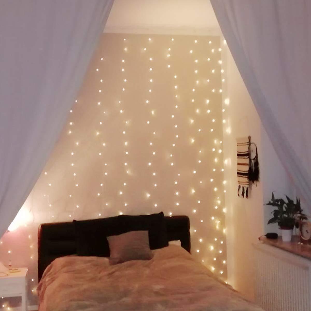 LE 3x3m 300LED Cortina de Luces LED con Gancho y Colgante de Cristal, 8 Modos de Luz, Blanco Cálido, Decorativas Cobre Luz Resistente al Agua para Romántico Boda, Navidad, Fiesta, Jardín: Amazon.es: