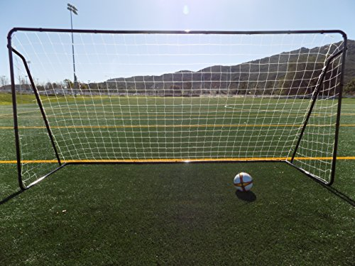 Vallerta 12 x 6 Ft. Black Powder Coated Galvanized Steel Soccer Goal w/Net. 12x6 Foot AYSO Regulation Size Portable Training Aid. Ultimate Backyard Goal, All Weather, One Year Warranty. New