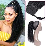 Curly Human Hair Strap Ponytail Extensions, 100% Unprocessed Brazilian Hair Wrap Around Ponytails, Magic Paste with Comb Clip in Kinky Curly Pony Tail (10', Curly Hair)