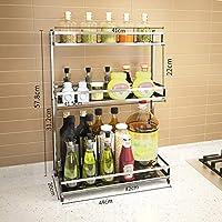 スパイス304段のステンレス鋼キッチン棚3層の床に立っスパイス収納ラックラック調味料ラック (Size : 44cm)
