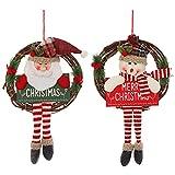 sdfae Adornos de Navidad guirnalda de vid linda muñeca de felpa larga colgante de felpa Santa muñeco de nieve adornos para pared puerta ventana creativa Navidad fiesta accesorios decoración