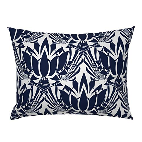 Roostery Pillow Sham, Dark Blue Lotus Flower Large Scale Floral Mandala Ornate Print, 100% Cotton Sateen 26in x 20in Knife-Edge Sham