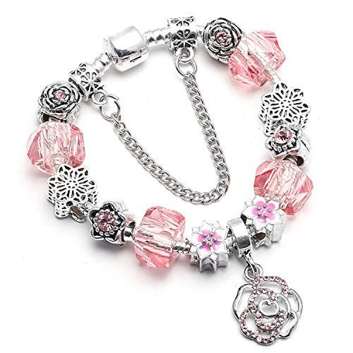 Pulsera Brazalete, Joyeria Regalo, Vintage Silver Plated Crystal Fine Bracelet For Wome Fit Snake Chain Charm Bracelet DIY Jewelry Gift C010 20cm