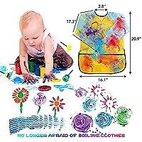 wuudi Confezione di pennelli per Bambini, Kit di Spugna per Pittura con apprendimento precoce con Grembiule Impermeabile a Manica Lunga, Kit di Disegno per 56 Pezzi #5