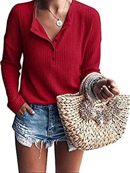 Womens Henley Shirts V Neck Long Sleeve Button Down Tops Warm Waffle Knit Tees  Large Red