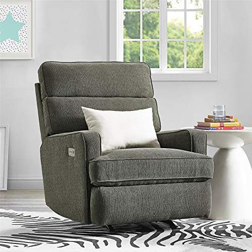 Baby Relax Nessy Dual Power Rocking Chair for Nursery, Gray Recliner