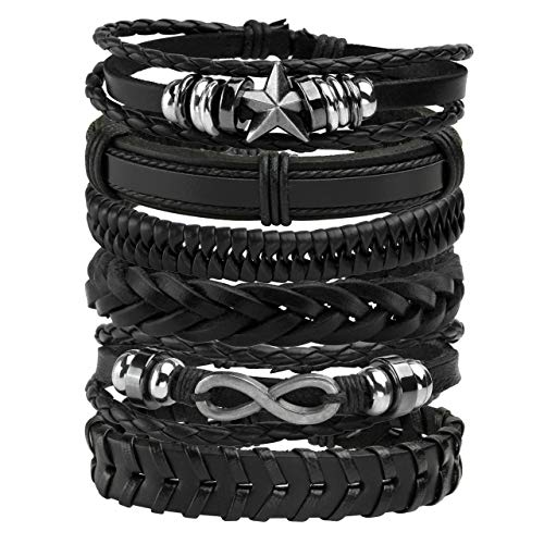 Manfnee 6PCS Leather Braided Bracelet Cuff Wrap Wristband for Men Women Adjustable