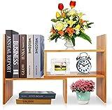 Desktop Storage Organizer Display Shelf Rack, Counter Top Bookcase, Adjustable Desktop Bookshelf,Freestanding Desk Organizer Bookcase DIY Table Storage Rack for Office & Home, Natural Bamboo