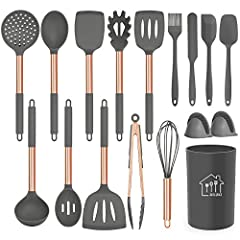 Professional Silicon Kitchen Utensil Set : AILUKI Kitchen Utensils Set includes Slotted Spatula ,Slotted Spoon,Flexible Spatula,Slotted Turner, Solid Turner, Pasta Server,Solid Spoon, Kitchen Tongs, Draining Spoon, Spoon Spatula, Oven Mitt, Whisk ,De...