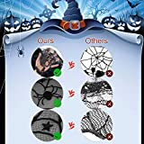DECARETA Halloween Tischdecke Rund Schwarz Spinnennetz Spinnweben 102 cm Durchmesser Halloween Tischdeko Spinnen Netz für Karneval Halloween Party Dekoration - 3