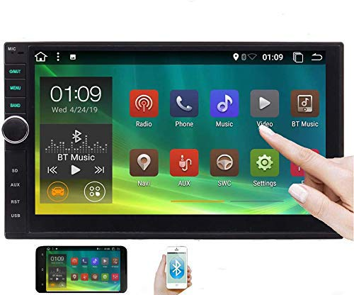 Double din Android 10.0 OS Car Stereo with Bluetooth GPS Navigation System 7 Inch Car Radio Video Player Support Wifi/4G/Mirrorlink/OBD2/USB/SD/1080P in Dash Headunit Capacitive Touchscreen