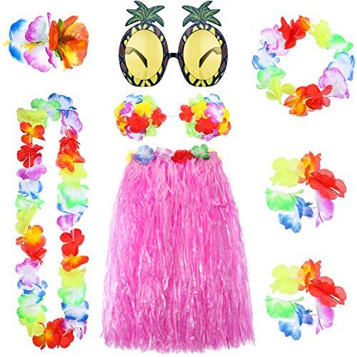 8 Pieces Hawaiian Grass Hula Skirt Set, Necklace Bracelets Bikini Top (Pink Skirt)
