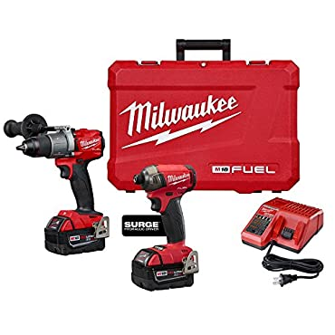 Milwaukee 2999-22 M18 FUEL 18-Volt Lithium-Ion Brushless Cordless Surge Impact and Hammer Drill Combo Kit