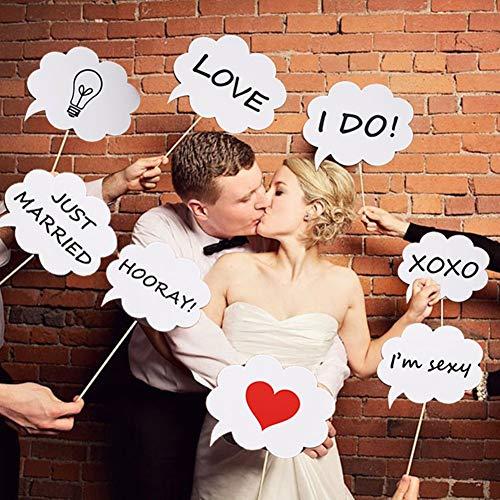 Kit de accesorios para cabina de fotos de boda Toshine DIY para cabina de fotos Pizarra blanca accesorios para cabina de fotos de novia ducha vestido hasta posar signo de diversión (8 piezas)