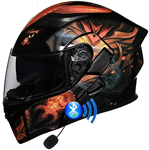 Casco De Motocicleta Con Casco Modular Bluetooth- Con Doble Visera, Casco De Integrado Aprobado ECE Para Hombres Y Mujeres Adultos, Con Micrófono Para Respuesta Automática 1,XXL=62-63CM