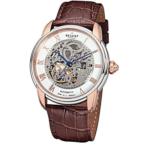Regent Herren-Uhren Analog Automatik One Size Braun Leder 32001203