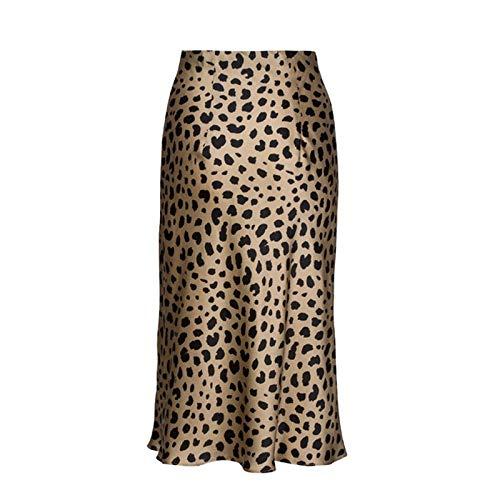 Trendy household dames midirok hoge taille luipaardmidi-rok vrouwelijk verborgen elastische band van zijde en satijn rok slip-art dierenprint rok vrouwen