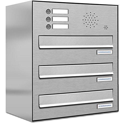 AL Briefkastensysteme 3 er Briefkasten für Tür/Zaundurchwurf in V2A Edelstahl mit Klingel, 3 Fach, wetterfeste Premium Briefkastenanlage modern