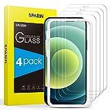 SPARIN Protector de Pantalla Compatible con iPhone 12 y iPhone 12 Pro, Cristal Templado con Marco de Alineación, 4 Piezas