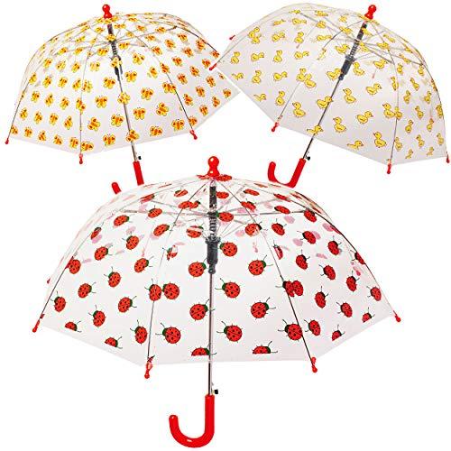 alles-meine.de GmbH Automatik _ Kinderschirm / Regenschirm - lustige Tiere - Ø 60 cm - groß / durchscheinend & durchsichtig - transparent - Glockenschirm - sturmfest sturmsicher ..