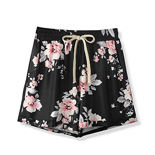 Sobrisah Women's Floral Printed Drawstring Elastic Waist Casual Comfy Beach Shorts Tag 8XL-US-24