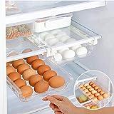 Fridge Egg Holder,Kitchen Plastic Egg Holder Adjustable Snap On Egg Container Fridge Shelf Holder Storage Box Pull Out Refrigerator Drawer Organizers Basket Shelf Eggs Tray for 21 Eggs Under 0.6'