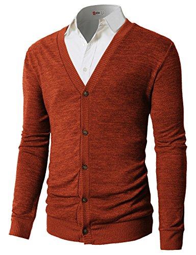 H2H Men's Autumn Winter Knit Thick Cardigan Sweater Knitwear Orange US S/Asia M (CMOCAL019)
