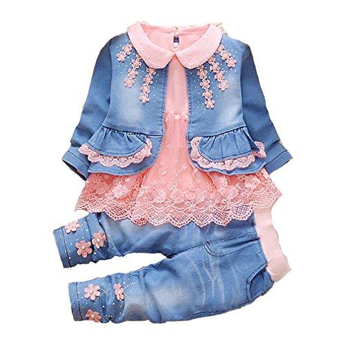 YYA 6M-4J Baby Mädchen Jeans 3-teiliger Anzug bestickter Spitzenrock Jeansjacke und Jeans(Orange,2-3J)