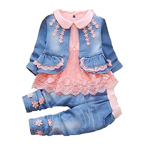 6m-4Years Babygirls and Infant Girls Jean Jackets Floret and Dress T-Shirts with Jeans Clothing Sets(6-12,Orange)