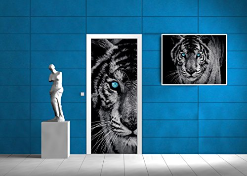 ForWall AMF20290_Vet Fleece Photo Wallpaper for Door Majestic Tiger VET (211 cm. x 91cm.) Black, Blue, Grey