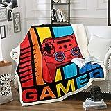 Tbrand Gamepad Manta de forro polar Gamer Flanell, 150 x 200 cm, Teens Videojuego, manta para adolescentes y niños, moderna Game Controller Hero Style Colorful Manta