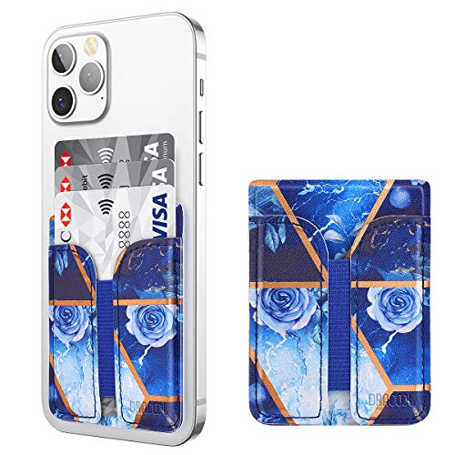 Dracool Porta Carte di Credito per Cellulare Portafoglio Autoadesivo in Pelle Porta Tessere di Telefono Stick-on Carta di Credito ID Tasca Adesiva per iPhone Samsung Smartphone - Marmo Blu
