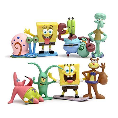 EASTVAPS Juguete 8 unids / Lote Bob Esponja PVC Figura de Acción Muñeca de Juguete DIY Anime Esponja Bob Patrick Star Calamardo Figura
