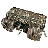 UNISTRENGH ATV Cargo Bag Rear Rack Gear Bag 600D Waterproof Oxford with Reflective Stripe Topside Bungee Tie-Down Storage Padded-Bottom Multi-Compartment Camo All Purpose Rear Seat Bag (Camouflage)