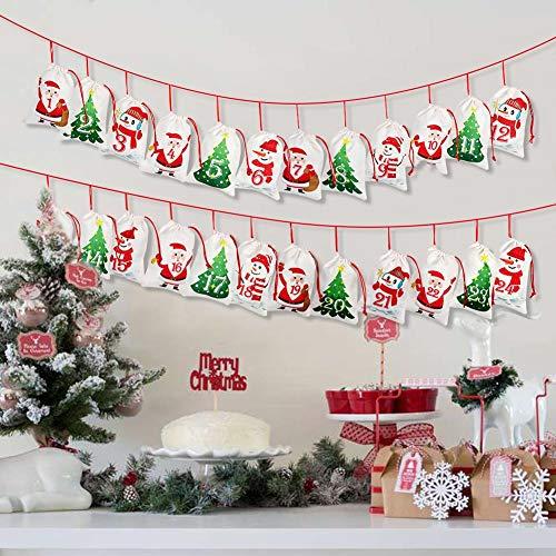 OurWarm Christmas Advent Calendar 2021 Decorations, 24 Days Dimity Burlap Gift Bags Favors for Christms Toys Home Decor (6.3' x 4.3' Christmas Tree, Santa Claus, Christmas Snowman)