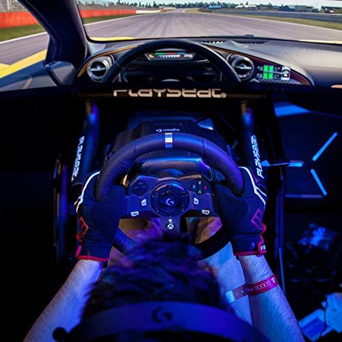 Logitech G920 Driving Force Volante de Carreras y Pedales, Force Feedback, Aluminio Anodizado, Palancas de cambio, Volante de Cuero, Pedales Ajustables, Enchufe UK, Xbox One/PC/Mac , Negro