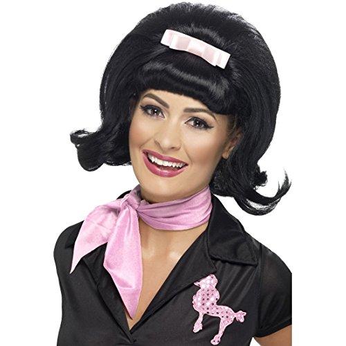 NET TOYS Perruque Années 50 Rockabilly Bob Noire Perruque Femme Grease Perruque de Carnaval Pink Lady Costume Accessoire