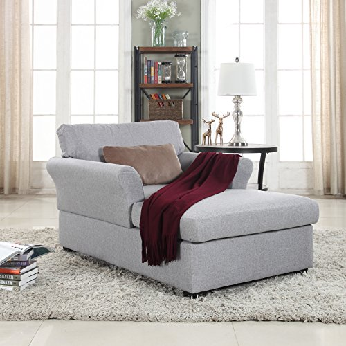Divano Roma Furniture Large Classic Linen Fabric Living Room Chaise Lounge (Light Grey)