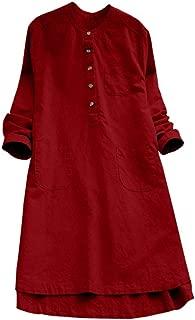 Women Long Shirt Tee Top Blouse Long Sleeve Dress Button Workwear