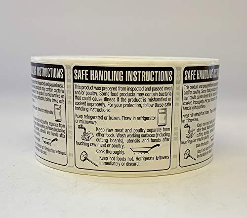 QSX Labels - Safe Handling Instructions Directions Label Stickers - Food Meat Chicken Poultry 2' x 2' (1,000/roll)