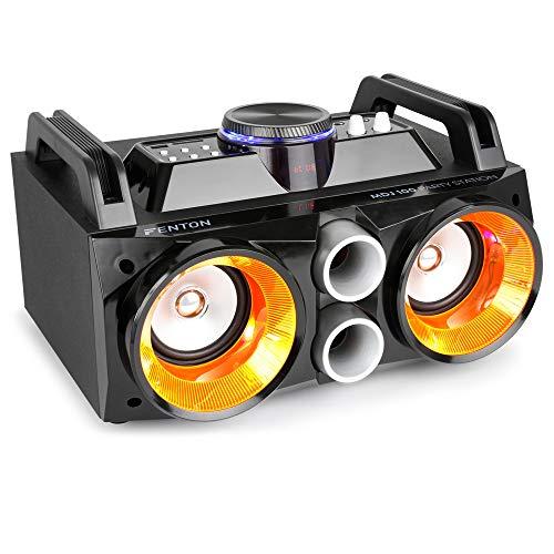 Fenton Battery Powered Portable Stereo Retro Ghetto Speaker with Bluetooth USB & Lights 100w